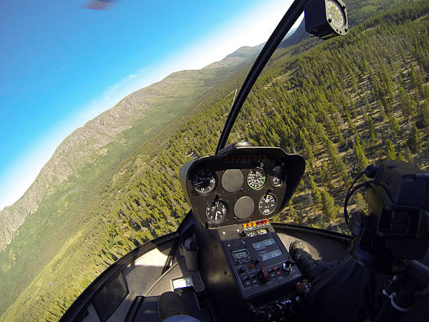 Wilderness View From Inside A Low Flying Helicopter Stock Photo