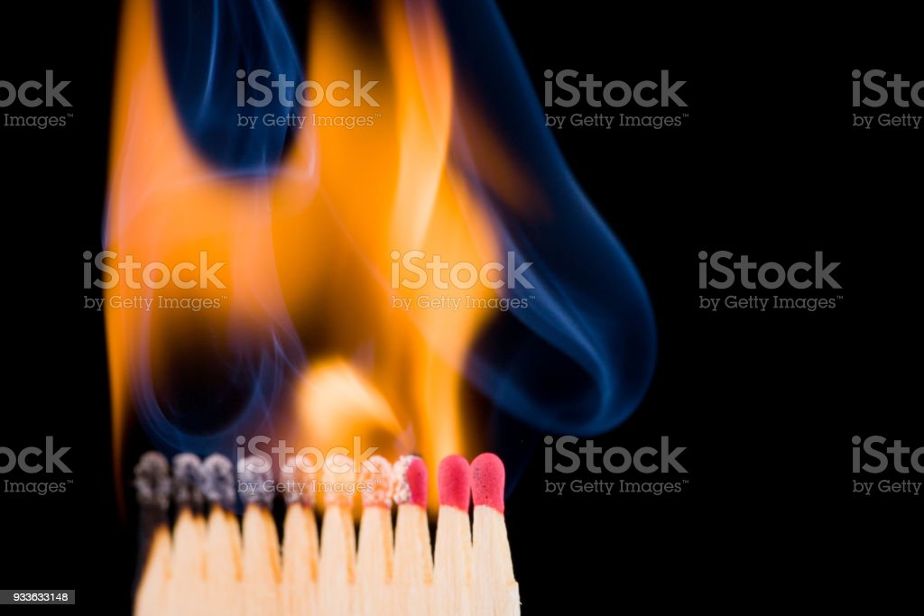 wildfire, almost all matches already burn stock photo