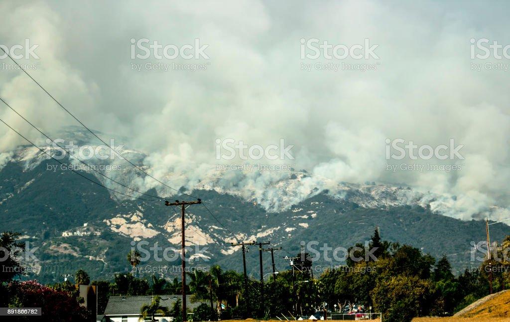 Wildfire Descends Mountain Above Carpinteria California stock photo