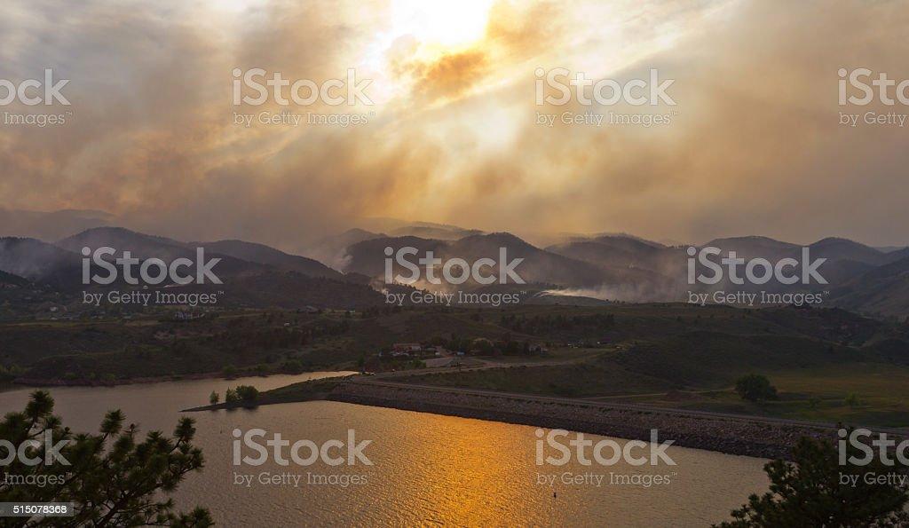 Wildfire Landscape in Colorado stock photo