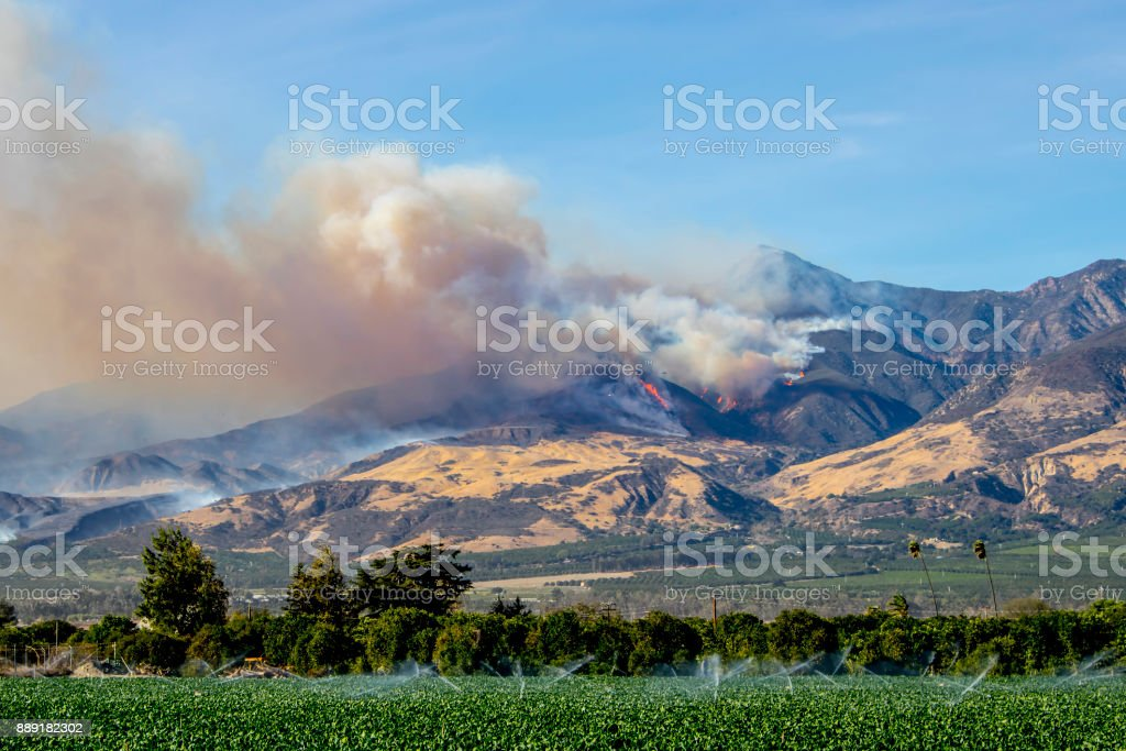 Wildfire Thomas Fire Burns in Mountains in Ventura County California stock photo