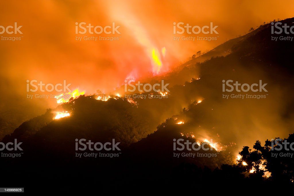 Wildfire with large swirl of flame stock photo