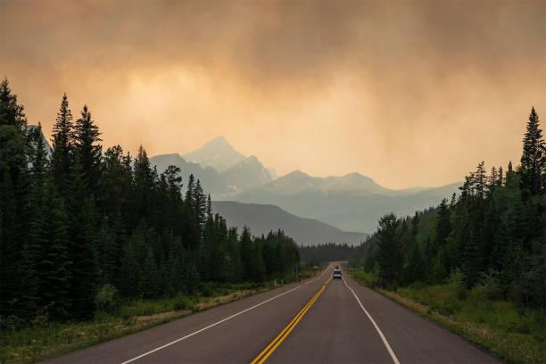 Wildfires along Highway, British Columbia, Canada stock photo