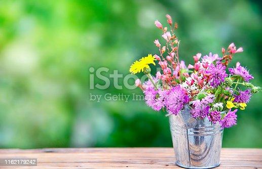 Metal Bucket with wildflowers