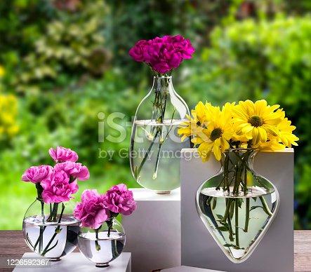 Wildflowers in glass vases in garden.