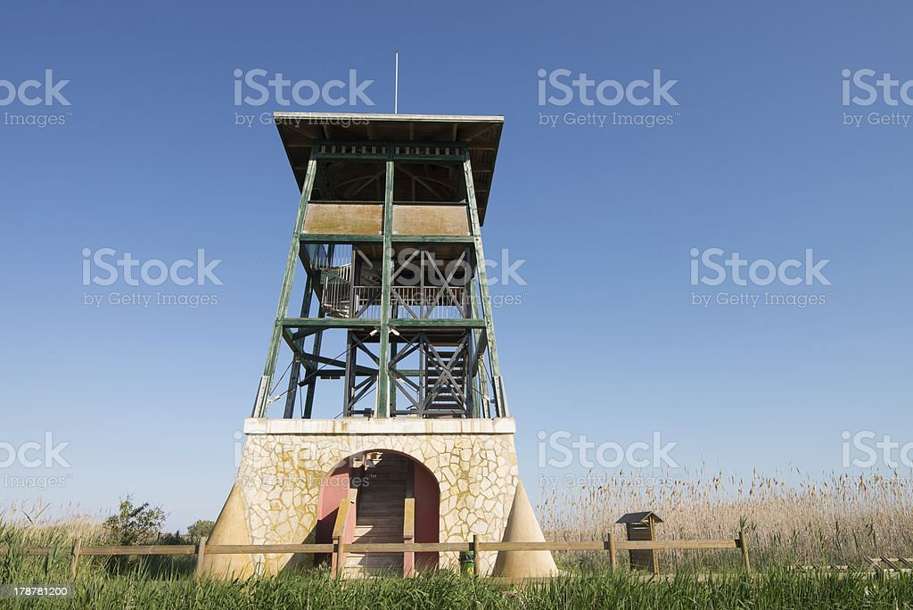 Wildlife observation tower stock photo