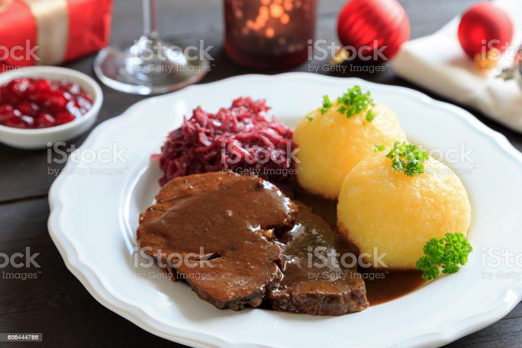 Wildschweinbraten stock photo