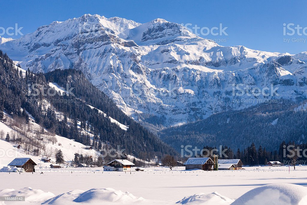 Wildstrubel Mountain, Bitter Cold Winter Afternoon, Swiss Alps stock photo