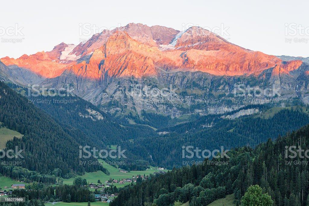 Wildstrubel Mountain with Evening Alpen Glow stock photo