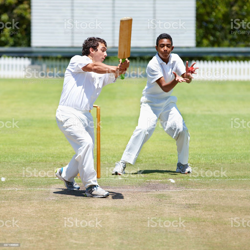 Will he get caught out? stock photo