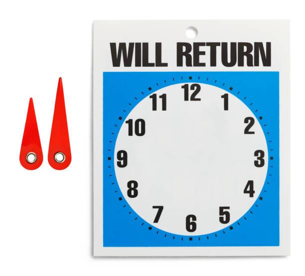 will return - - mittagspause schild stock-fotos und bilder