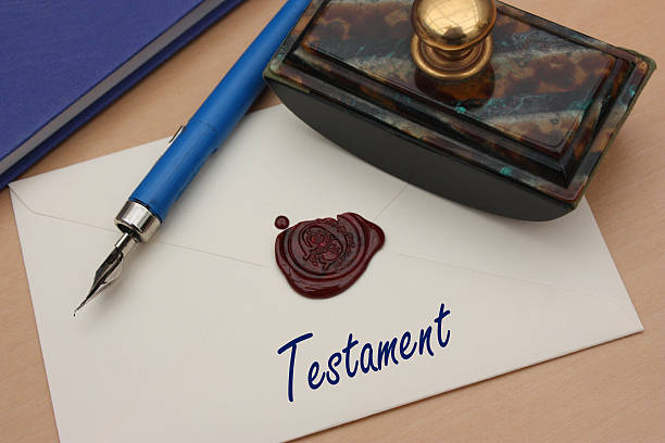 testament - manuscrit cacheté - will stock photos and pictures