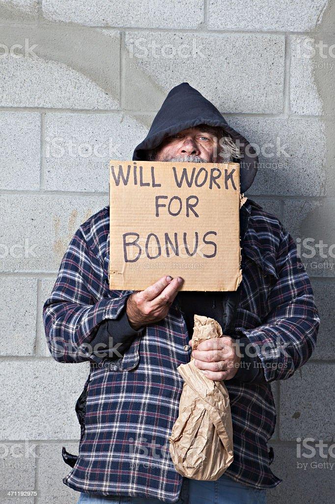 Will Work For Bonus stok fotoğrafı