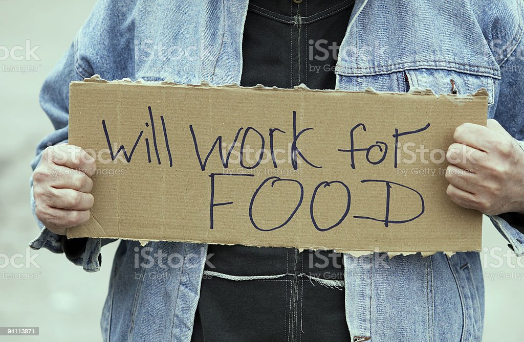 Will work for food royalty-free stock photo