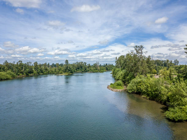 Willamette River Eugene Oregon stock photo