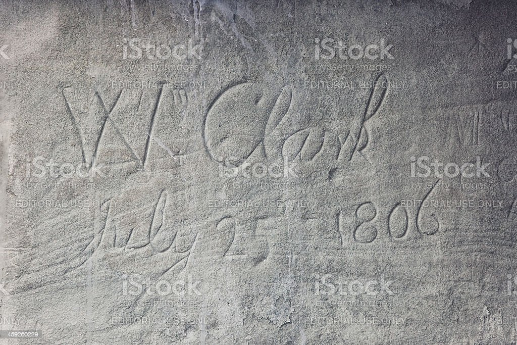 William Clark's Inscription on Pompeys Pillar National Monument stock photo