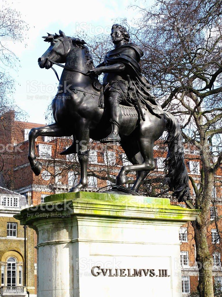 William III equestrian statue St James's Square, London stock photo