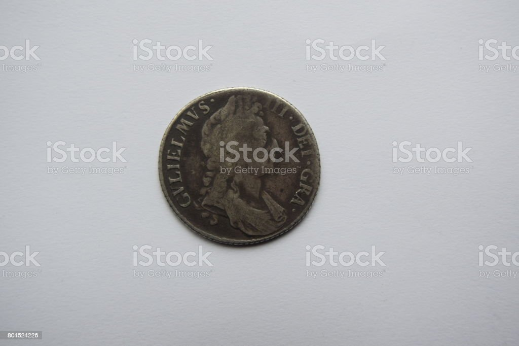 William III silver shilling, obverse side stock photo