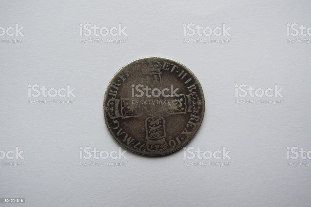 William III silver shilling, reverse side stock photo