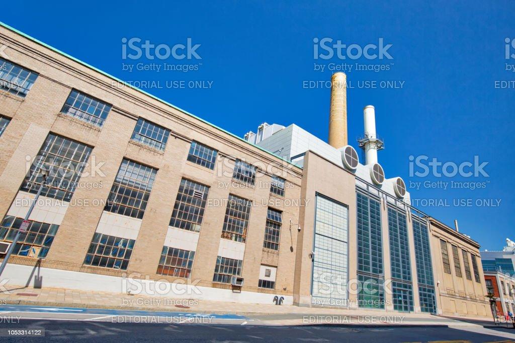 William R Dickson cogeneration plant, part of MIT environmental clean energy initiative. - fotografia de stock