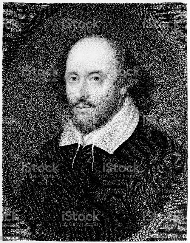 William Shakespeare engraving royalty-free stock photo