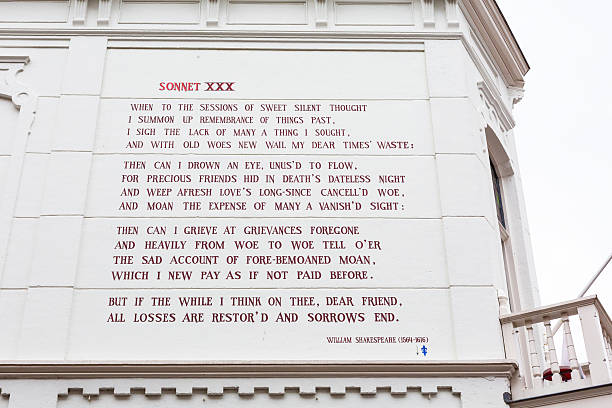 William Shakespeare sonnet at the wall of house in Leiden stock photo