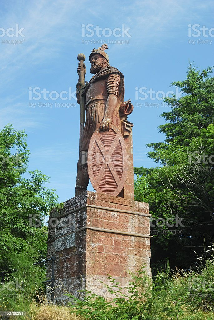 William Wallace monument above Dryburgh Abbey stock photo