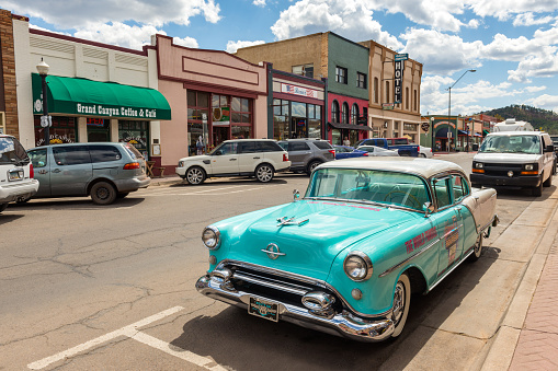 Wide angle view of West Route 66, Williams, Arizona, USA