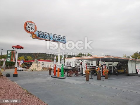16 october 2018, Williams, AZ, USA: Gift shop that was a gas station in the past at route 66 in small town of Williams
