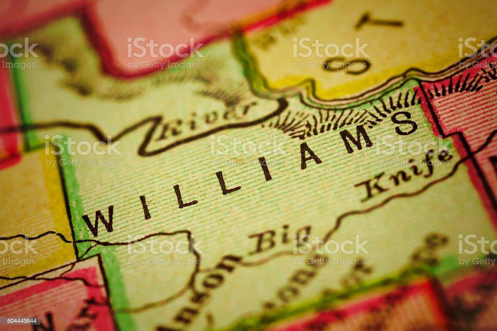 Williams | North Dakota County Maps stock photo