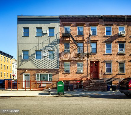 istock Williamsburg apartment buildings with steel fire escape stairway and letter box 877136882