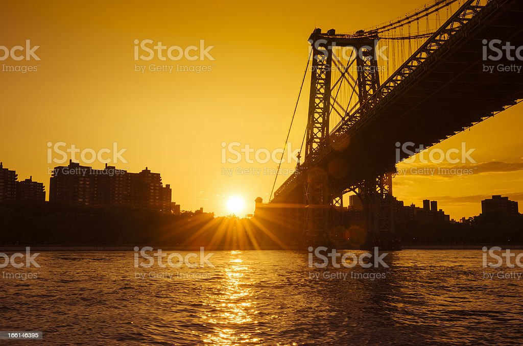 Williamsburg bridge at lower east manhattan royalty-free stock photo