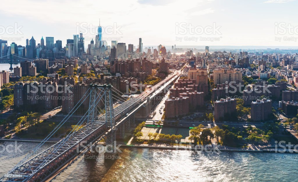 Williamsburg Bridge over the East River in Manhattan, NY stock photo