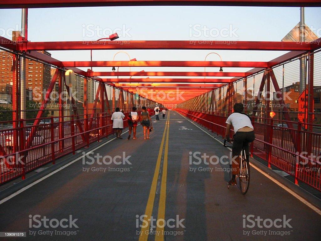 Williamsburg Bridge Pedestrians royalty-free stock photo