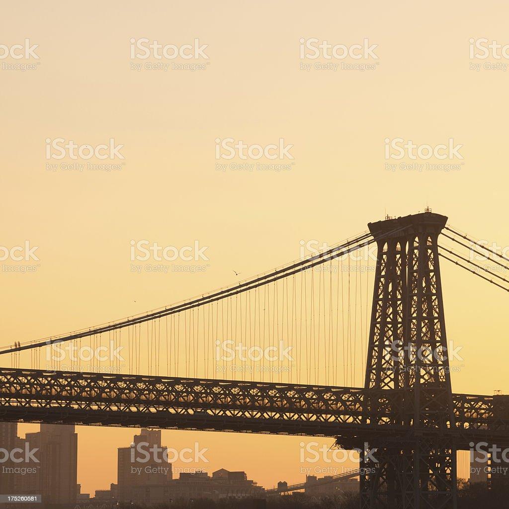 Williamsburg Bridge sunset royalty-free stock photo
