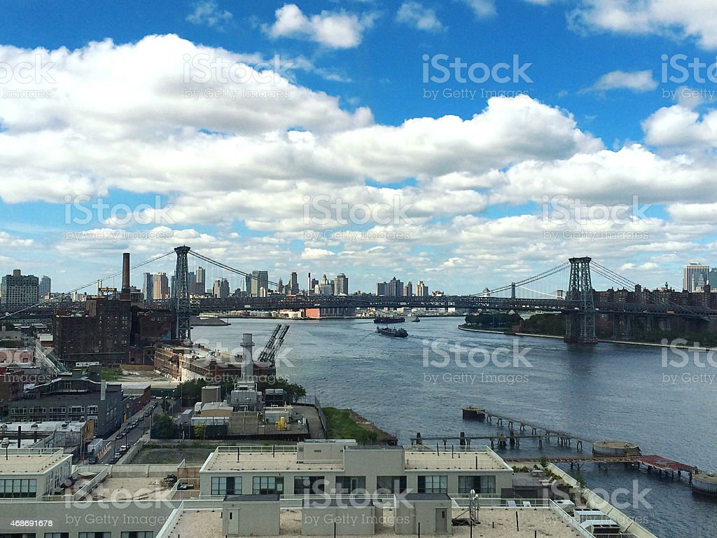 Williamsburg Bridge View From a High-Rise Building stock photo