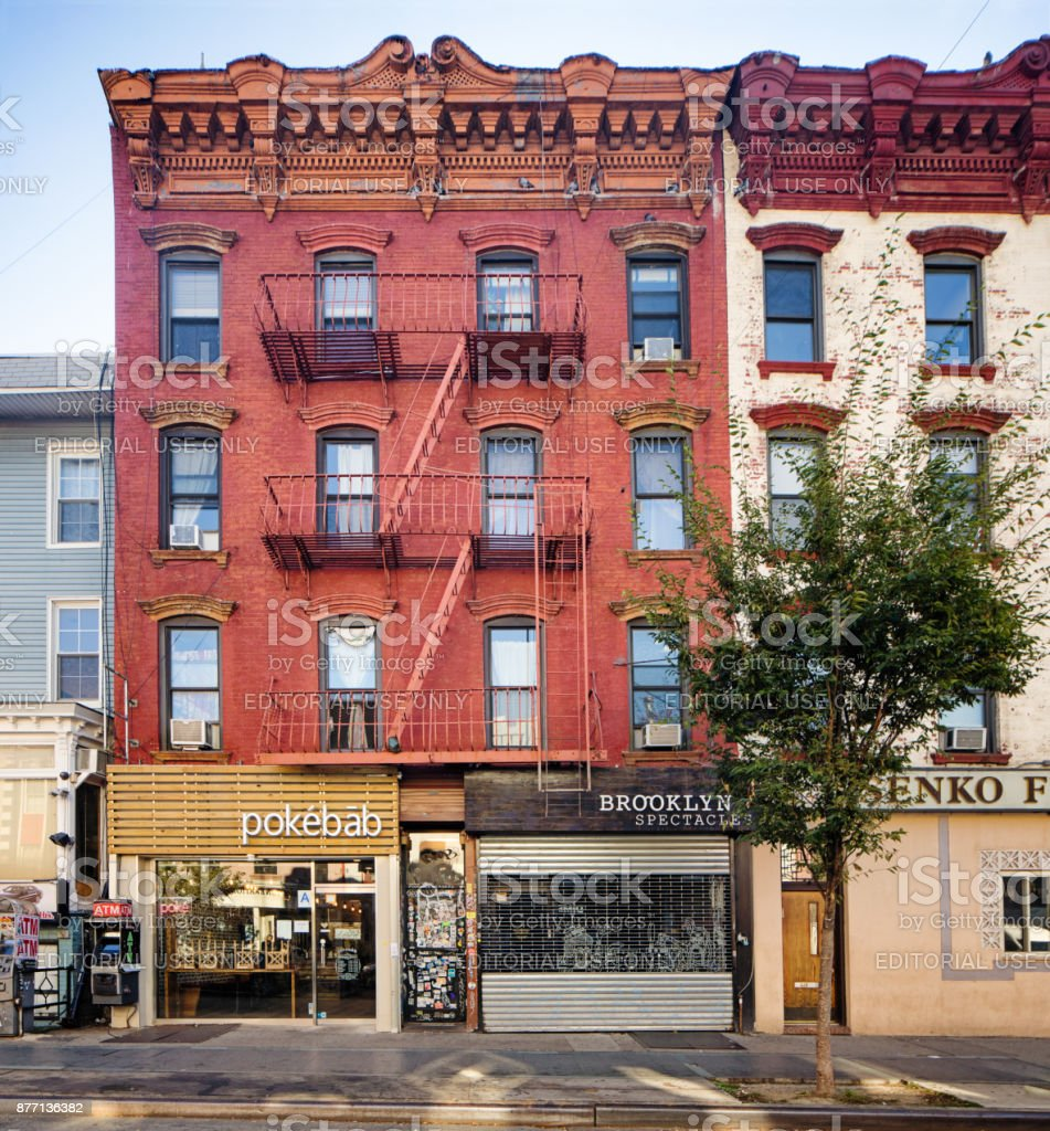 Williamsburg Brooklyn Apartment buildings with street level restaurants and shops stock photo