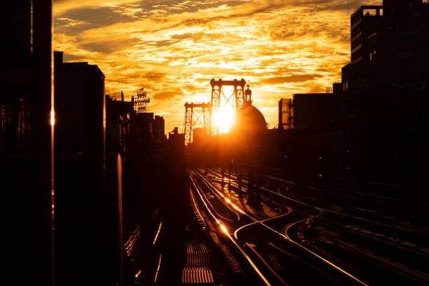 Williamsburg Brooklyn Sunset stock photo