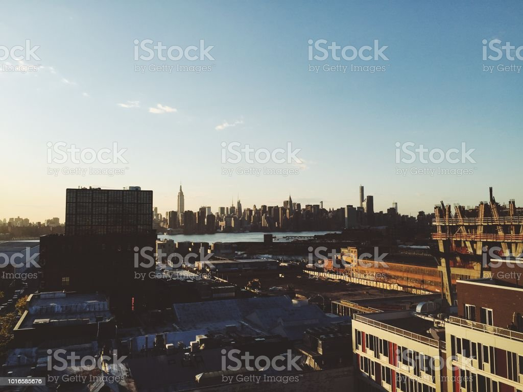 Williamsburg view at sunset stock photo