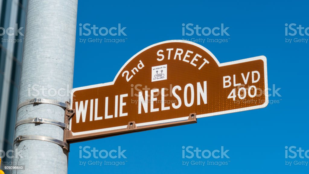 Willie Nelson Blvd Street Sign stock photo