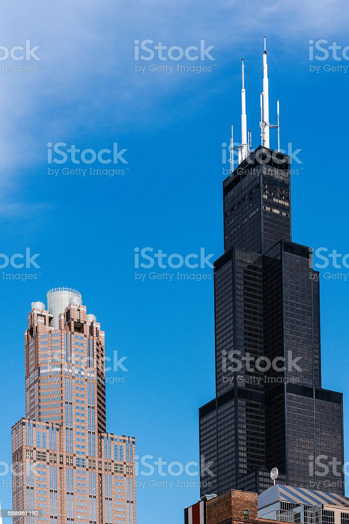 Willis Tower against Blue Sky stock photo