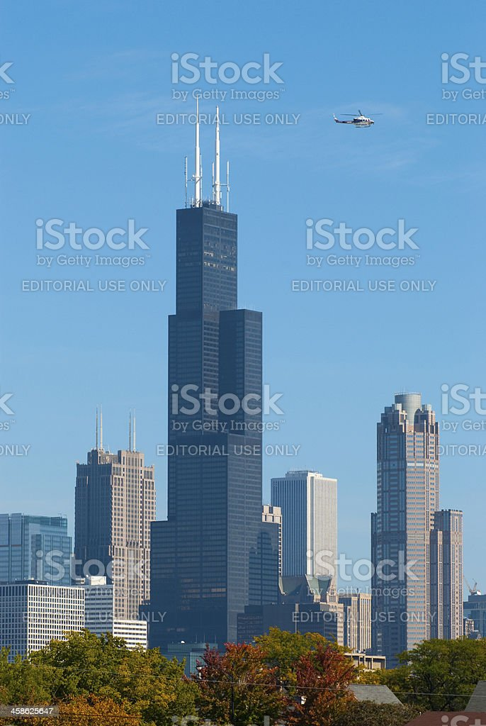 Willis Tower and other downtown skyscrapers stock photo