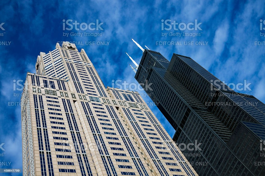 Willis Tower and Three Eleven South Wacer stock photo