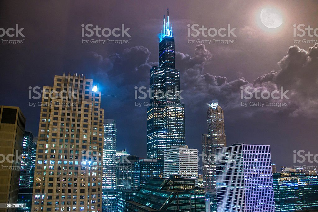Willis Tower at Night stock photo