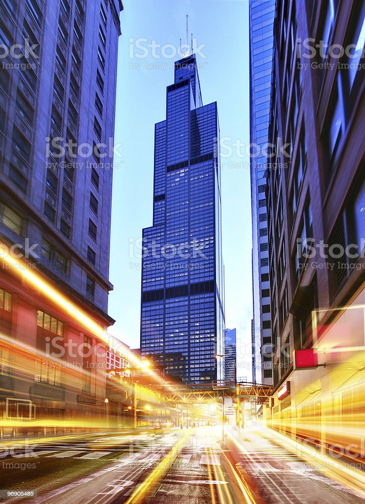 Willis Tower at night time stock photo