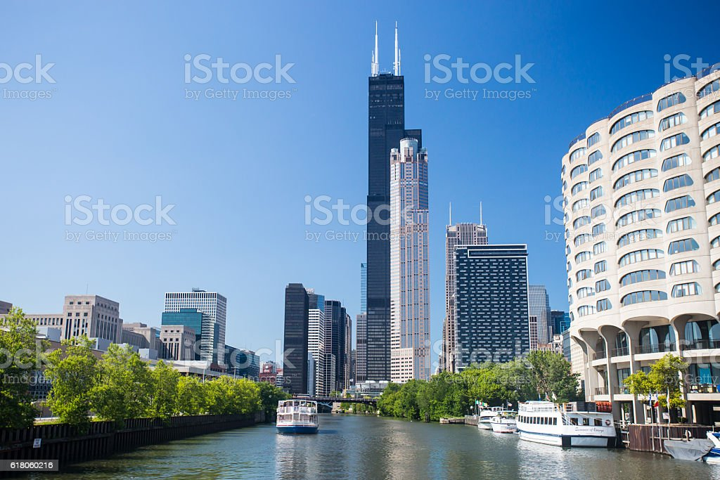 Willis Tower in Chicago on the Chicago River stock photo