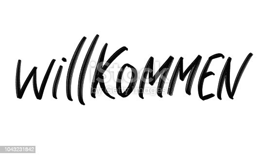 istock Willkommen hand drawing challigraphy. Wellcome in german language. 1043231842