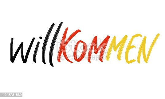 istock Willkommen hand drawing challigraphy. Wellcome in german language. 1043231860