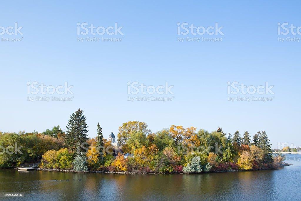Willow Island in Wascana Lake - Regina Saskatchewan stock photo