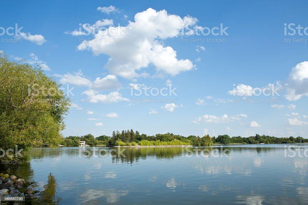 Willow Island on Wascana Lake in Regina Saskatchewan stock photo